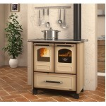Wood burning cooker with glazed steel covering Nordica Family 3.5