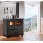 Wood burning cooker with glazed steel covering Nordica Family 4,5